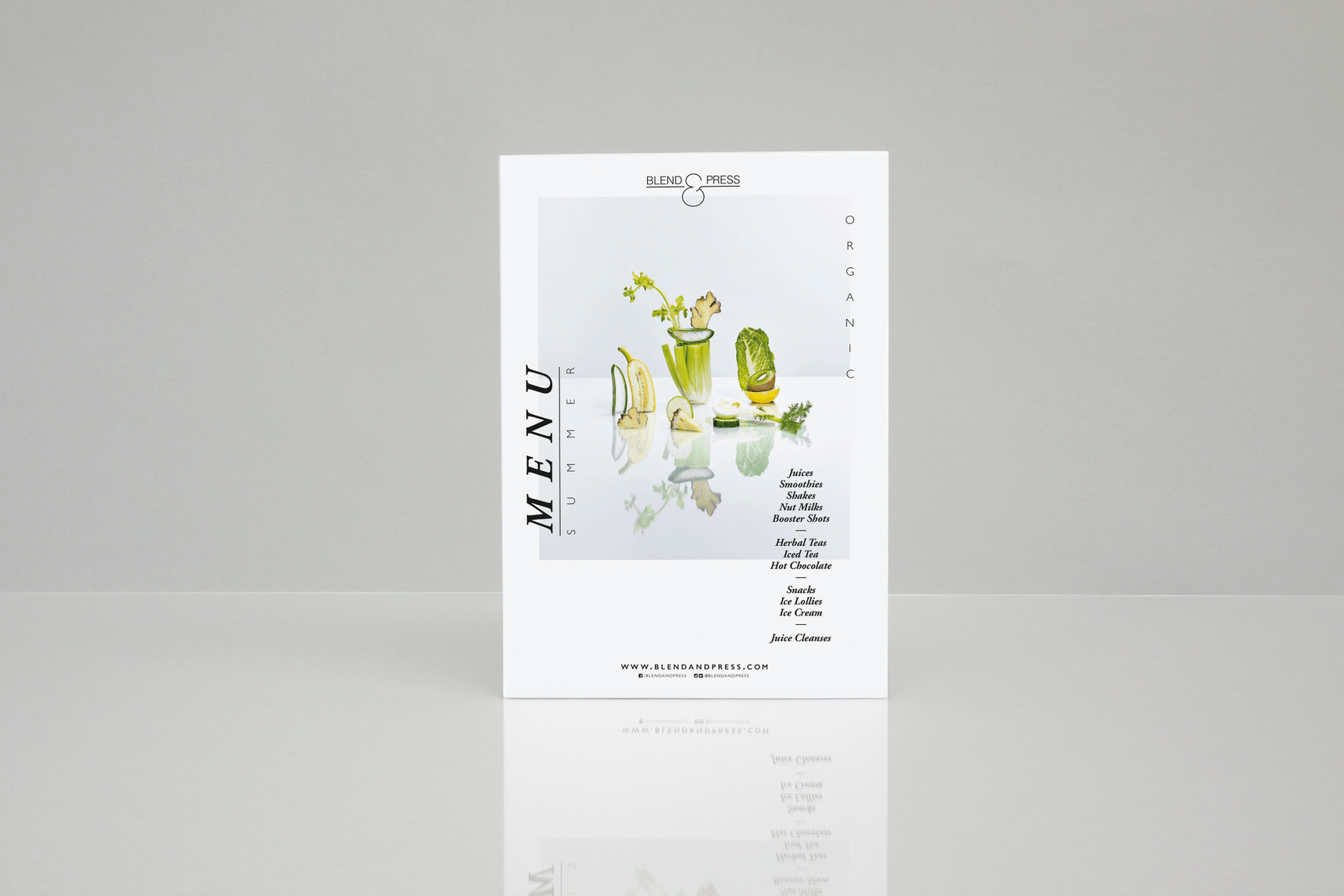 Cover Design of Menu Card for health food brand blend and press