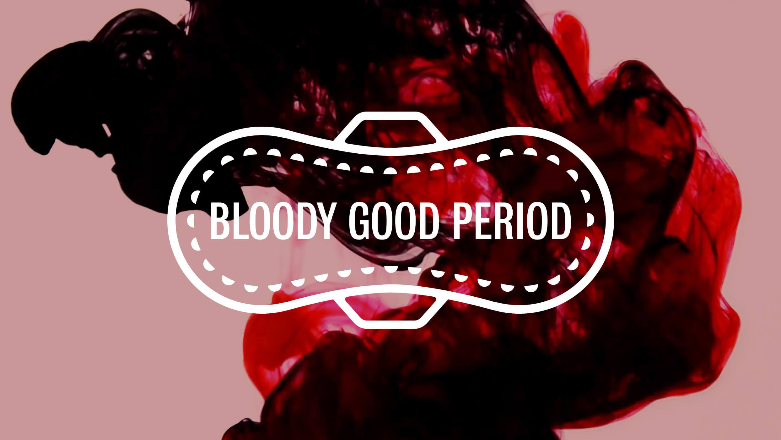 Bloody Good Period logo on blood drop in water