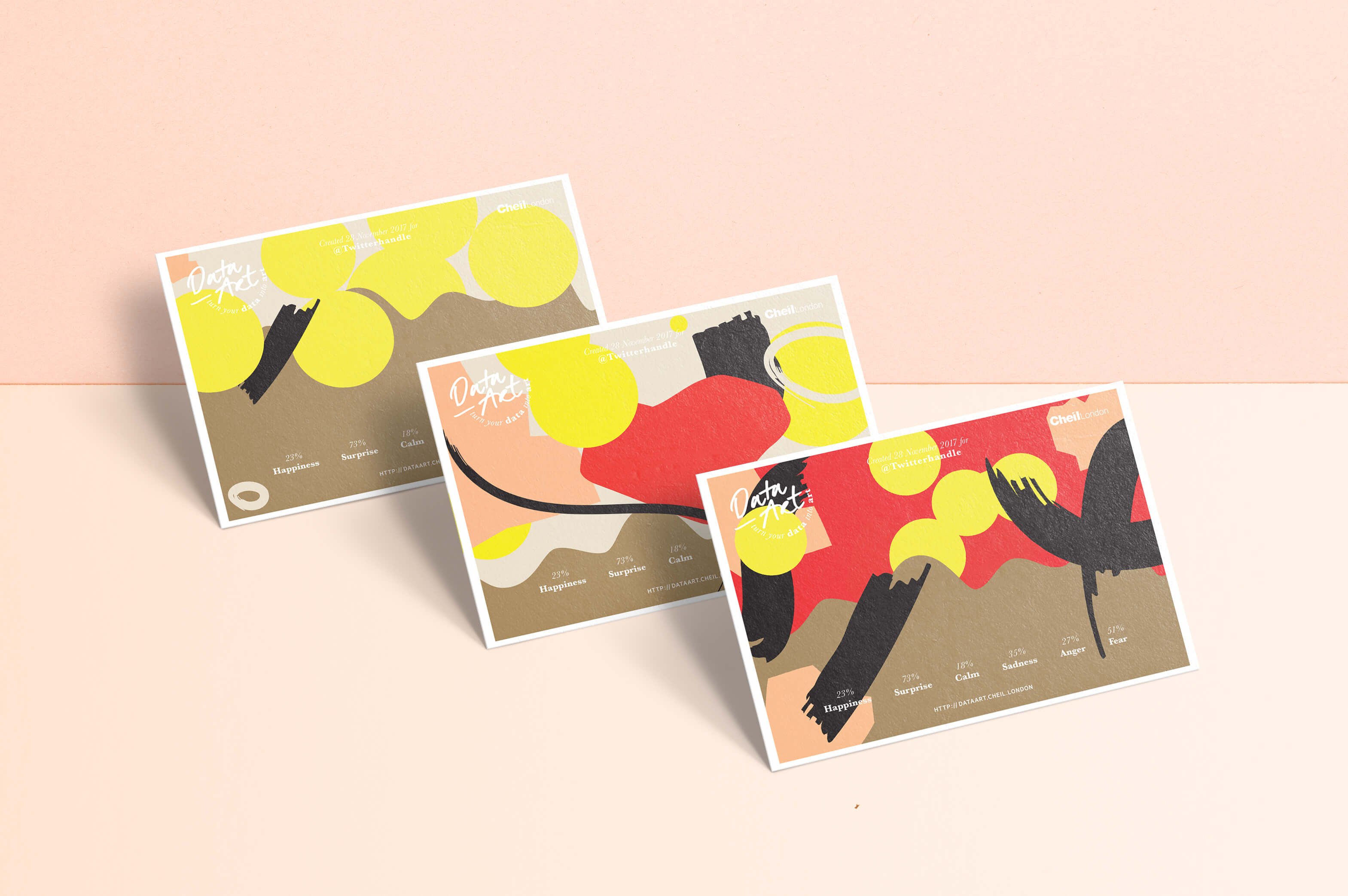 three postcards with bespoke visual outcomes from data art platform