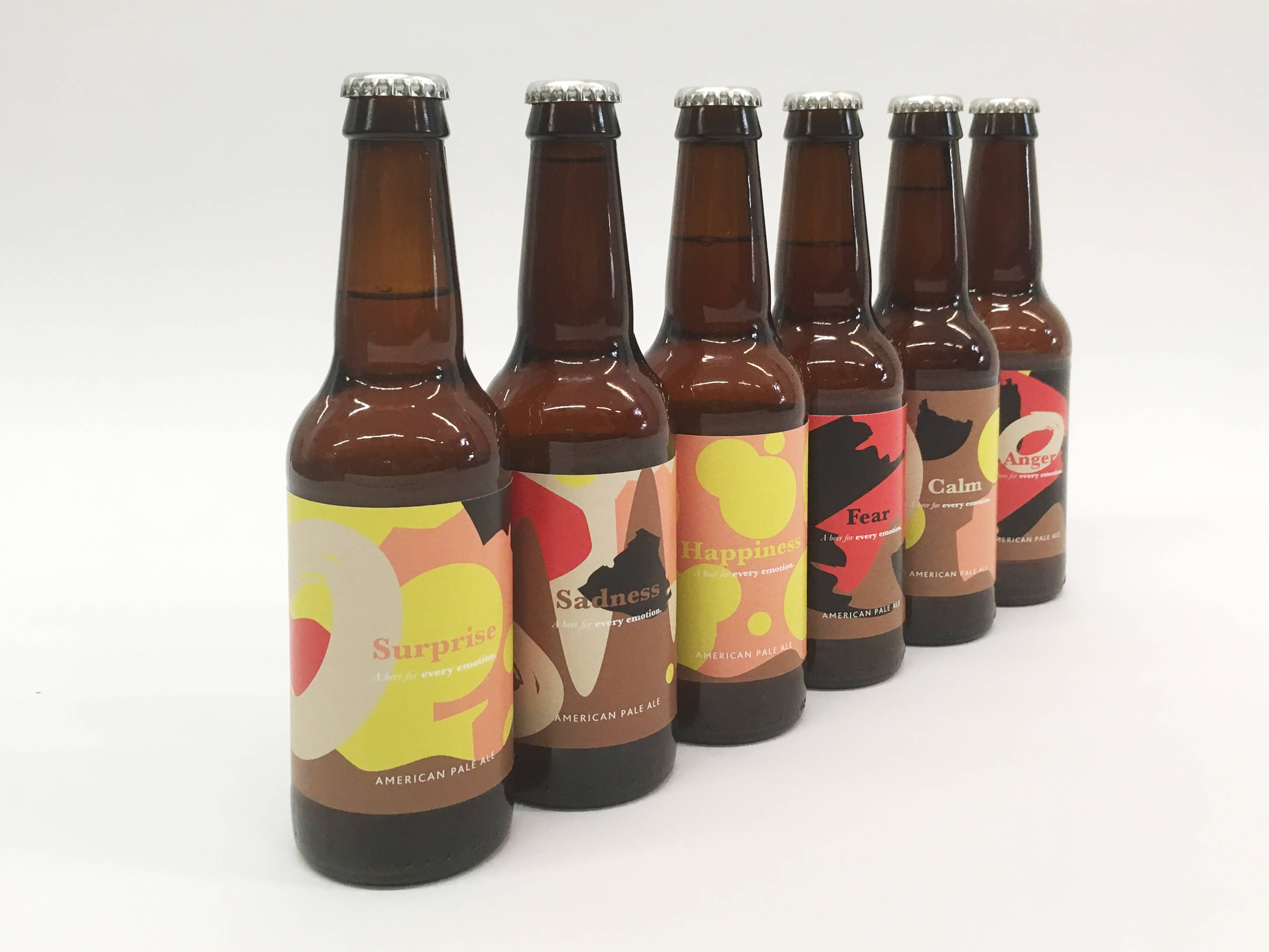 Six beers with bespoke labels based on emotions