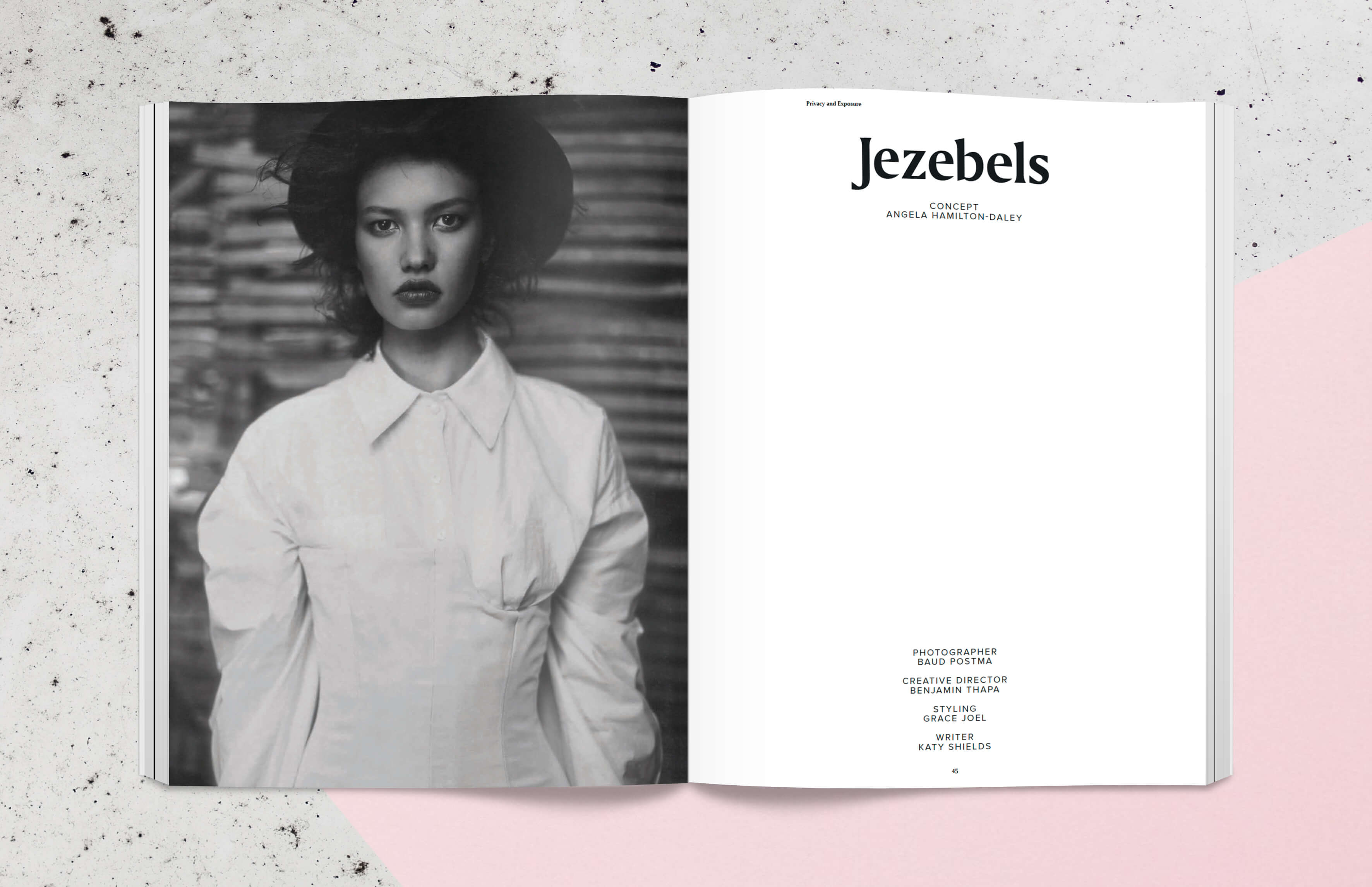 Magazine spread with fashion editorial, portrait in black and white of woman
