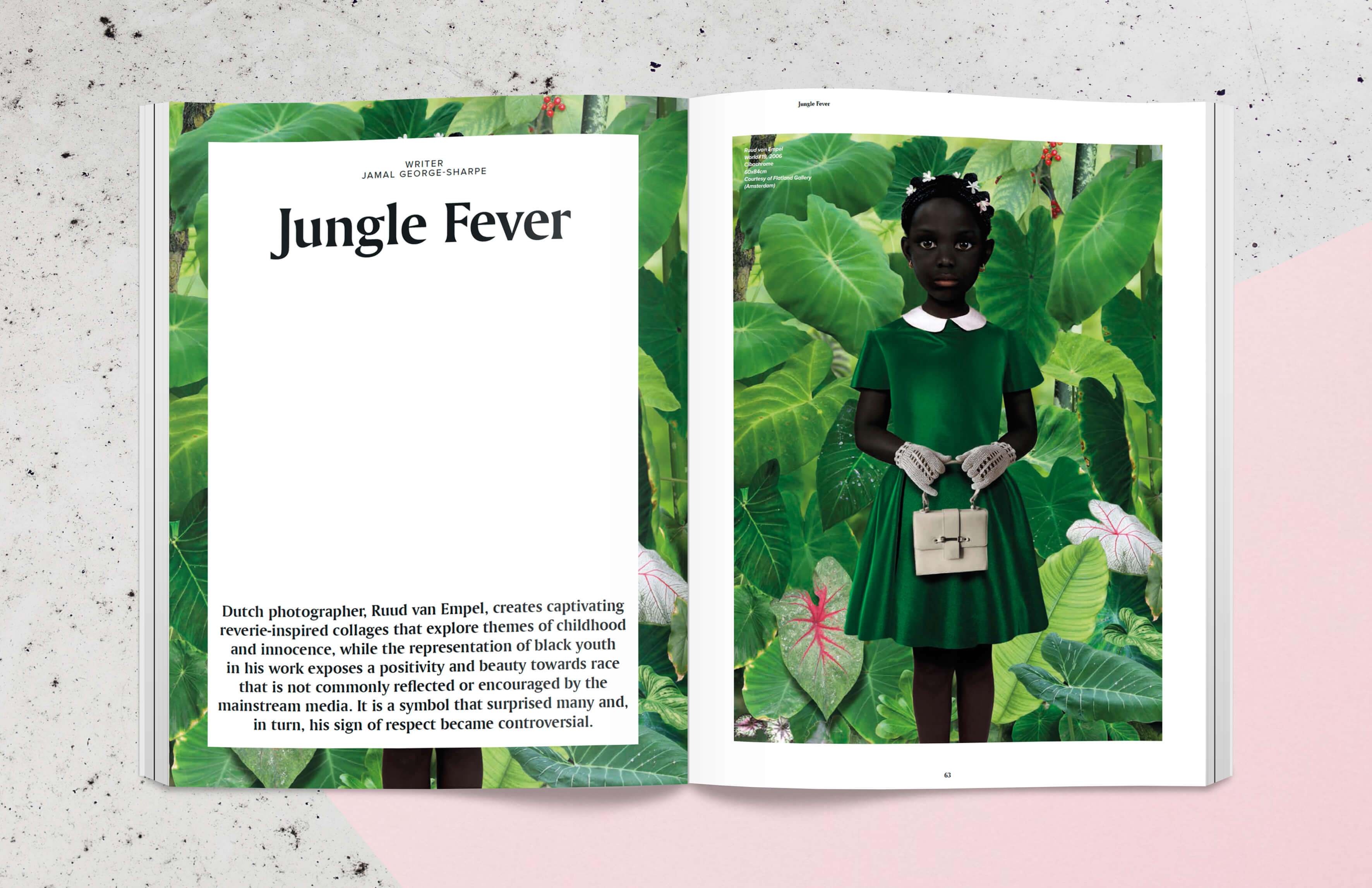 Magazine spread with collage work of artist Ruud van Empel