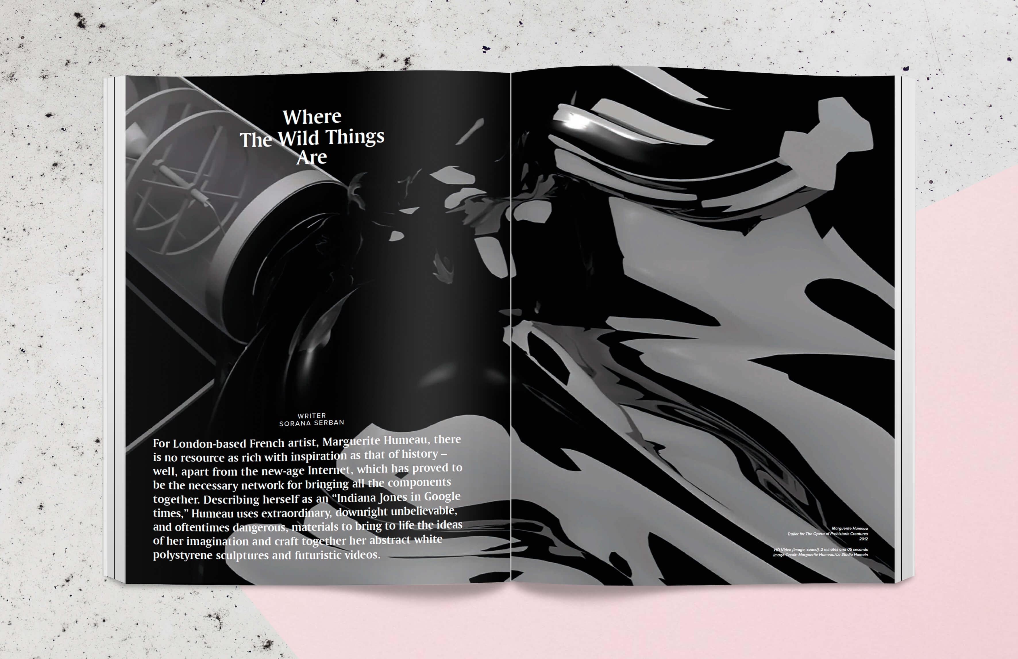 Magazine spread showing art created by Marguerite Humeau