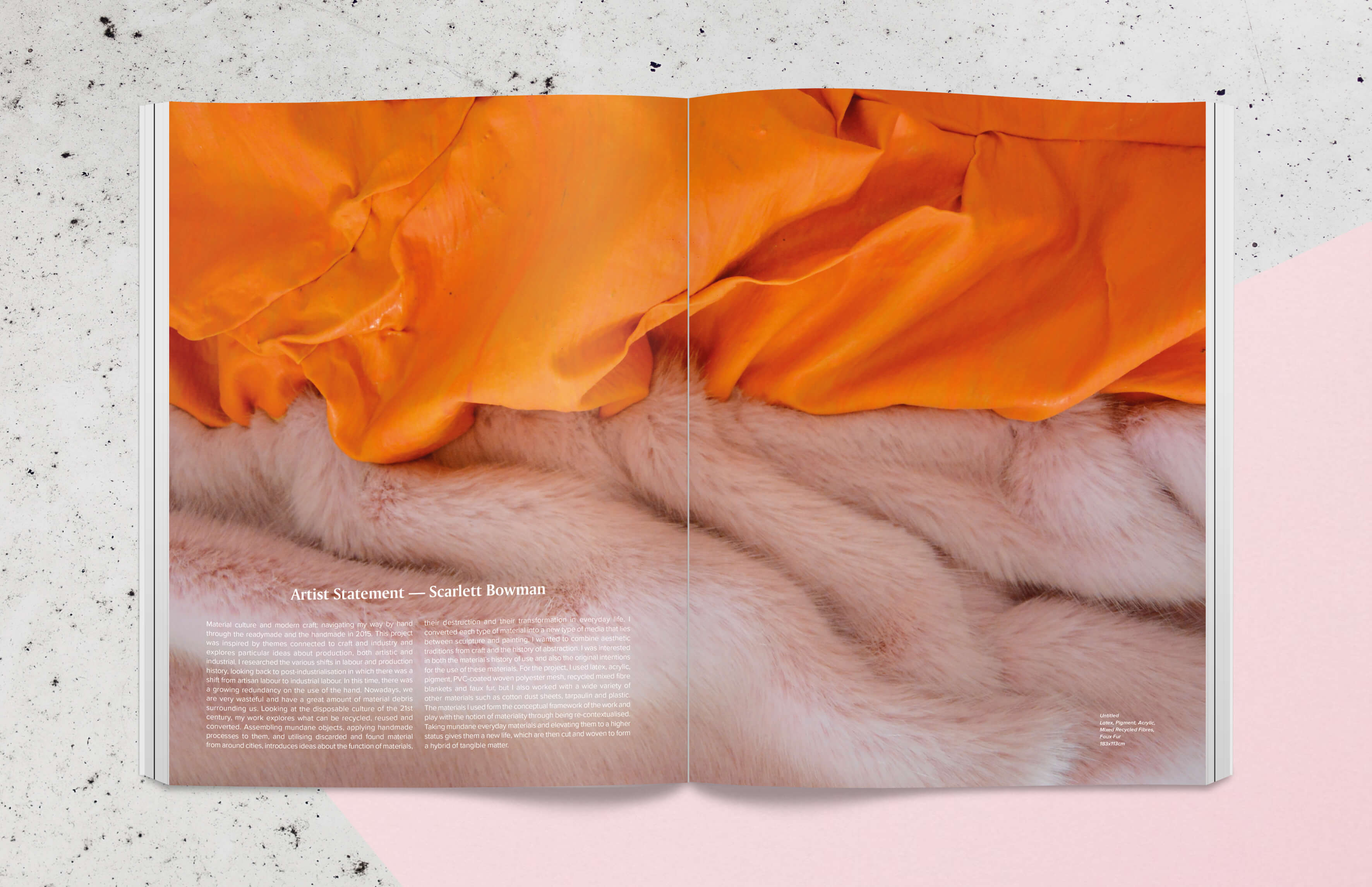 Magazine spread showing two pieces of fabric by artist Scarlett Bowman