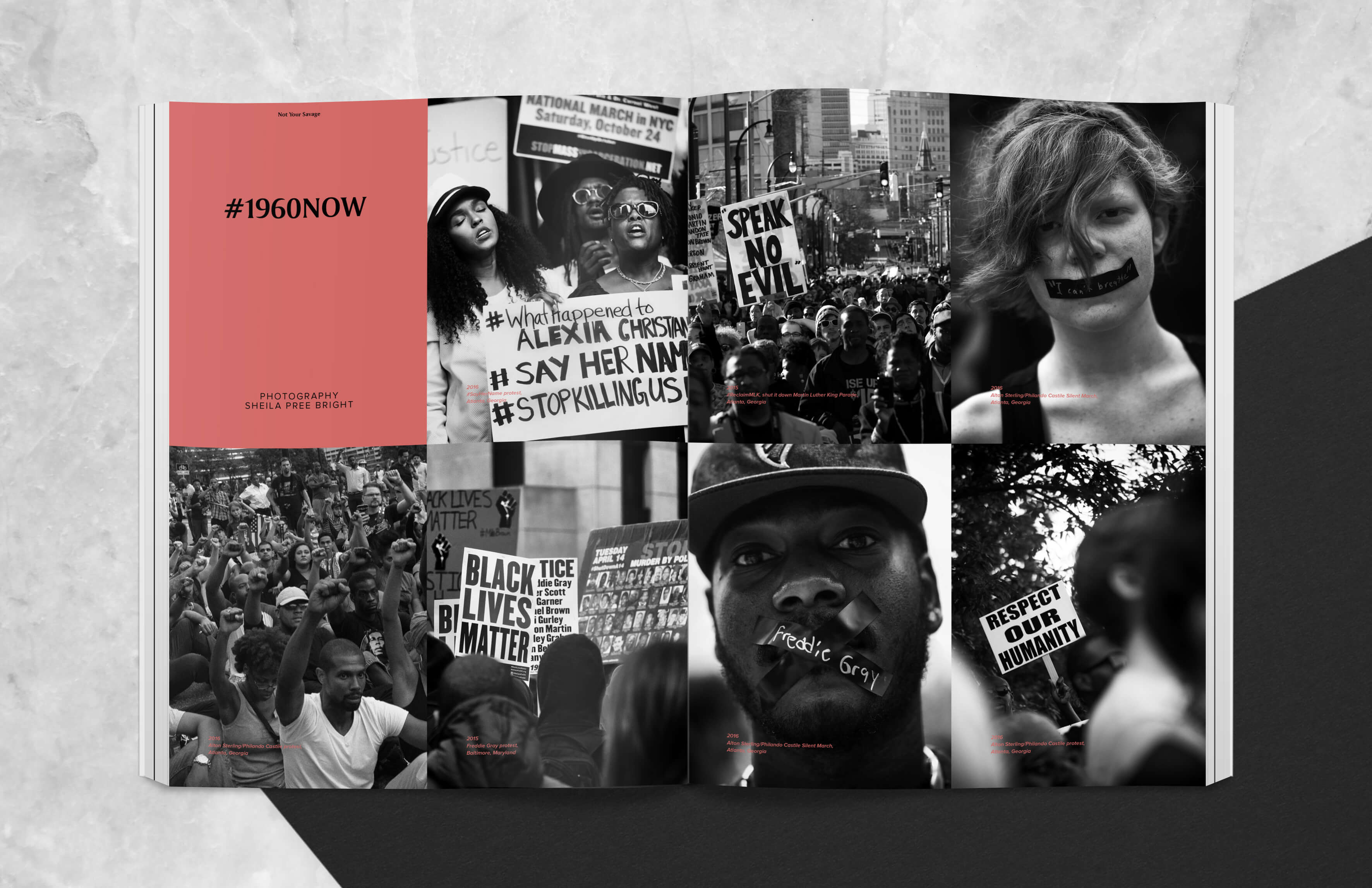 Magazine spread showing Black Lives Matter demonstrations