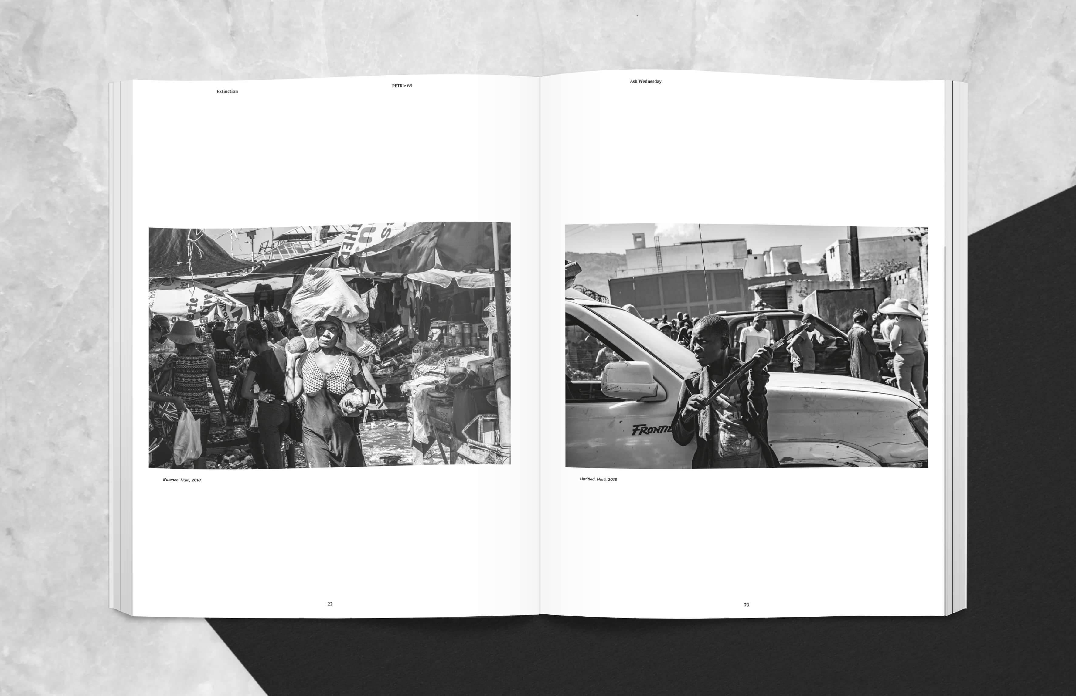 magazine spread showing People in Iron Market in Port Au Prince Haiti after 2018 fire