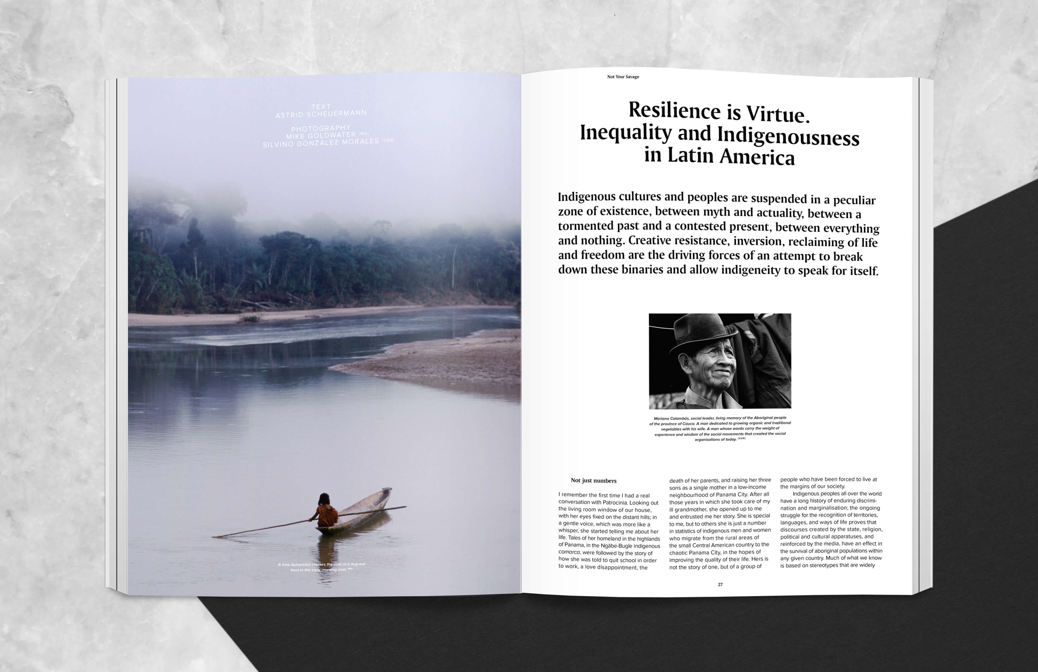 Magazine spread with article about inequality and indigenousness in Latin America, Ashaninka in boat and portrait