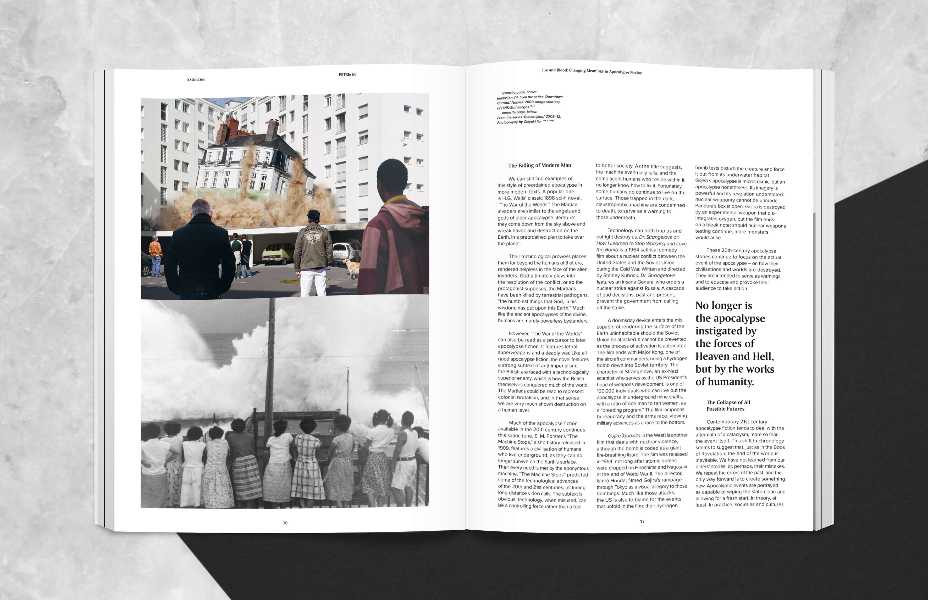magazine spread with Written article about changing meanings in Apocalypse Fiction
