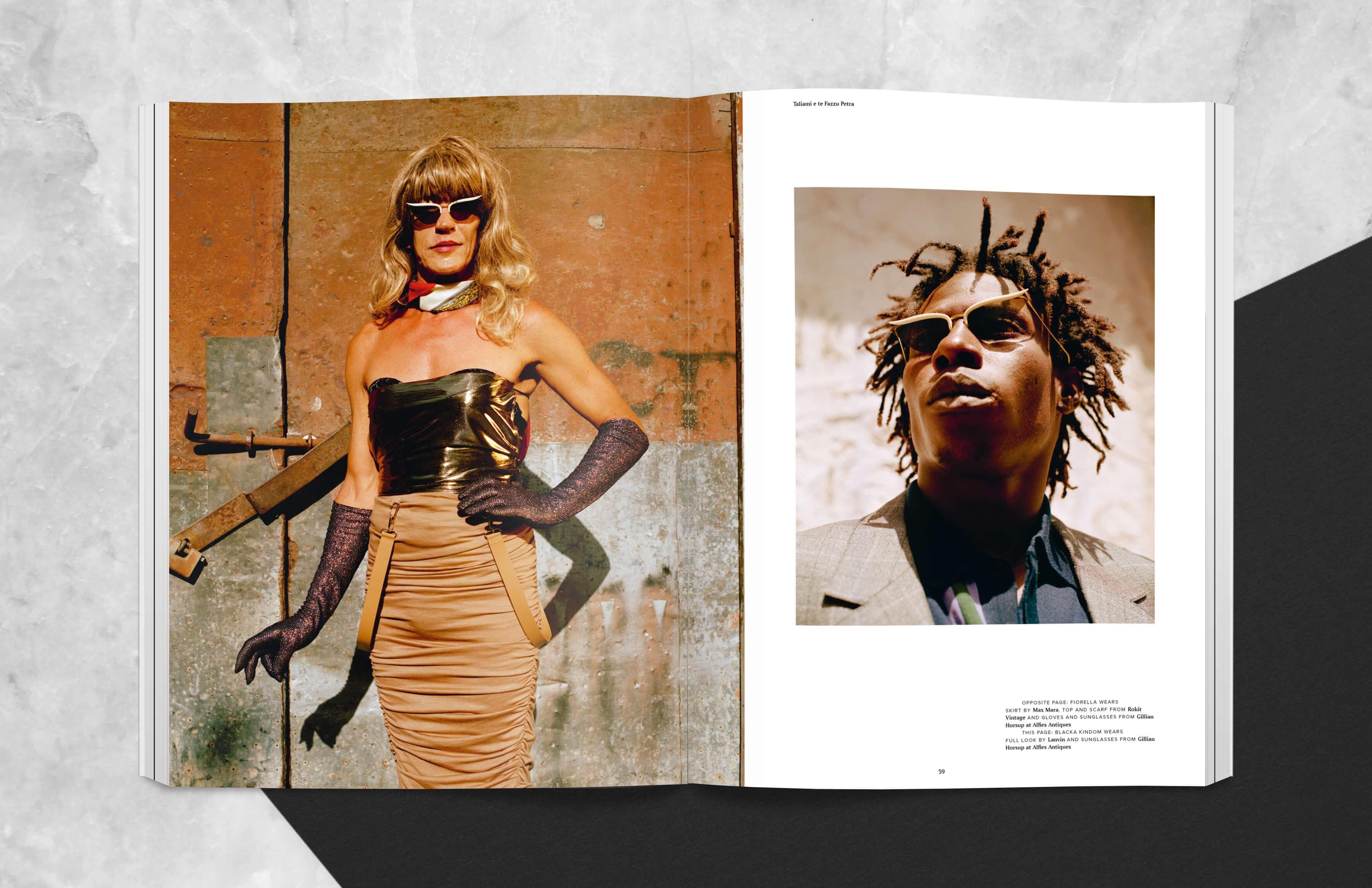 magazine spread showing two fashion images