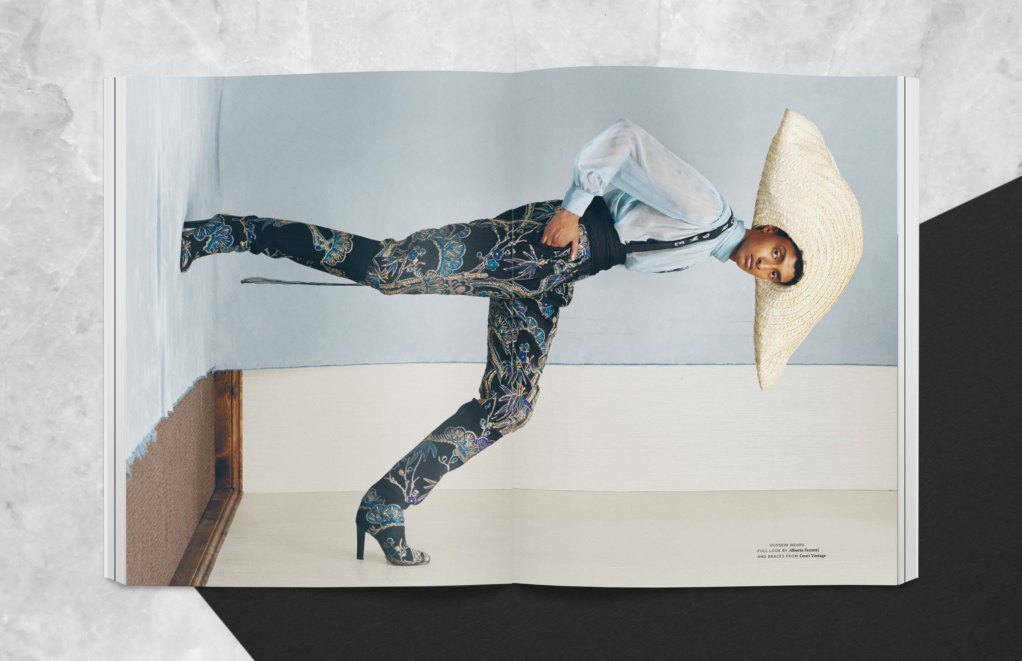Magazine spread showing male model with sombrero across spread