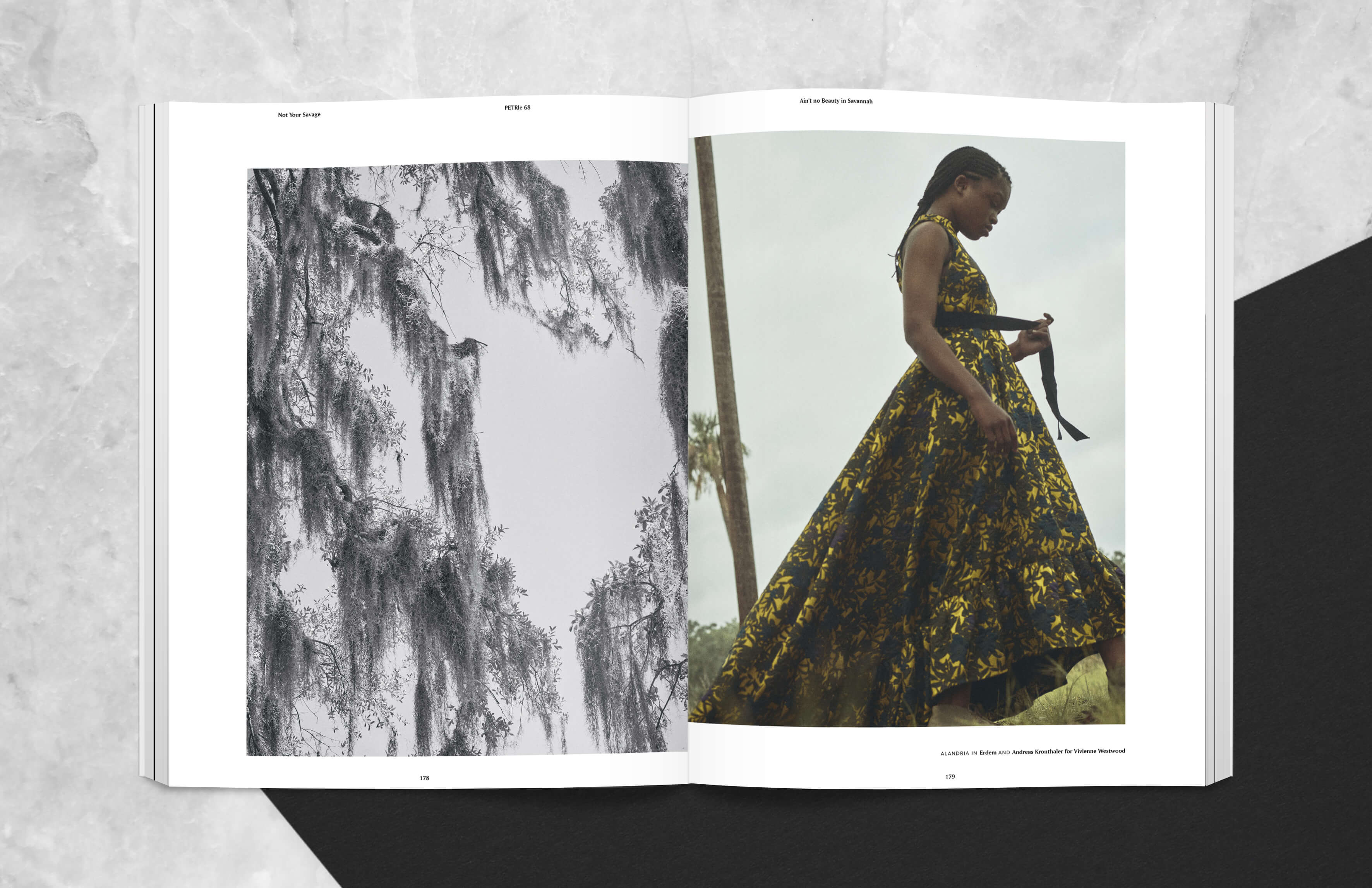 Magazine spread showing spanish moss tree in savannah and girl walking outside