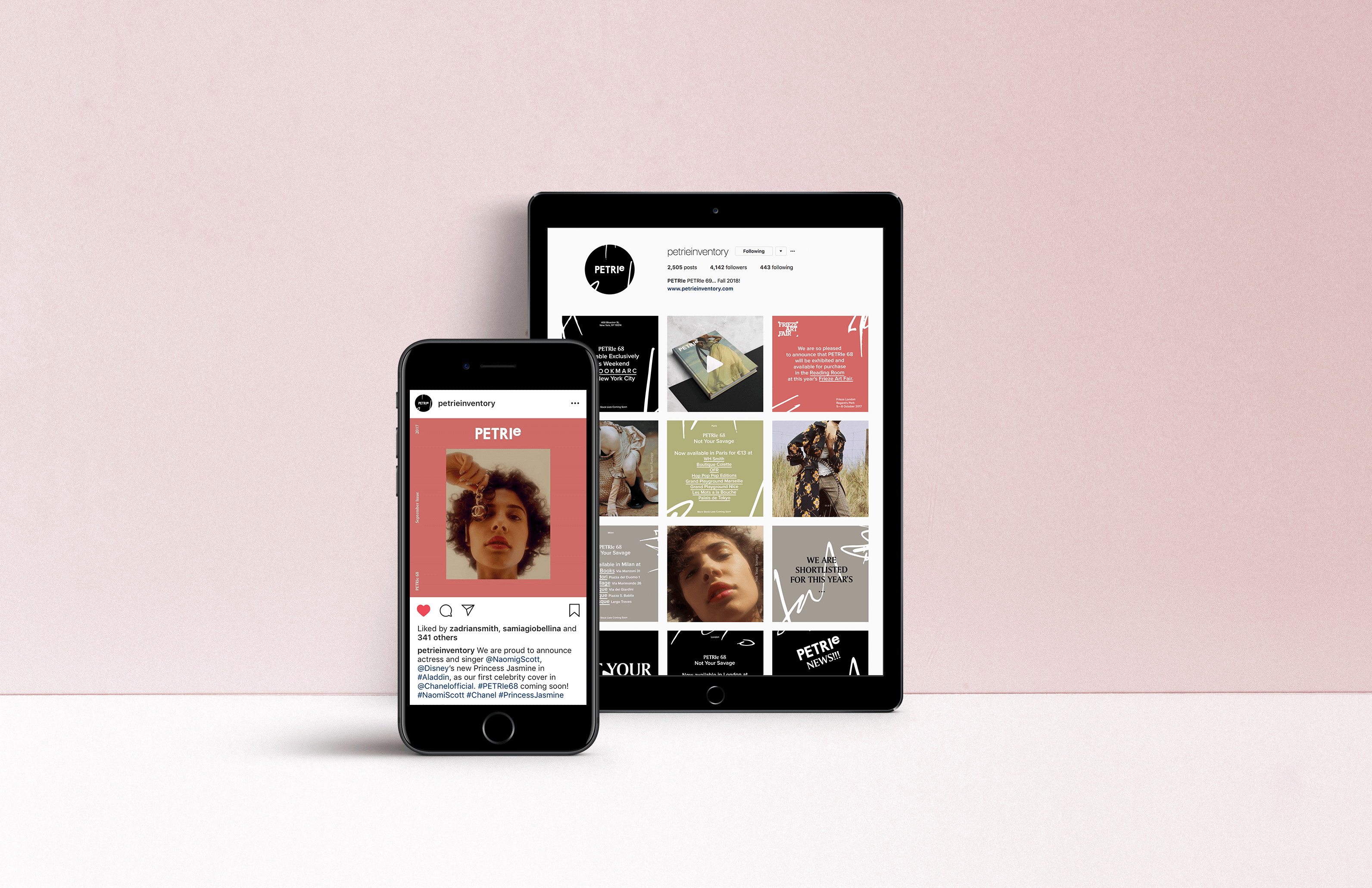 Social Media Campaign on tablet and mobile for Petrie Magazine Issue 68