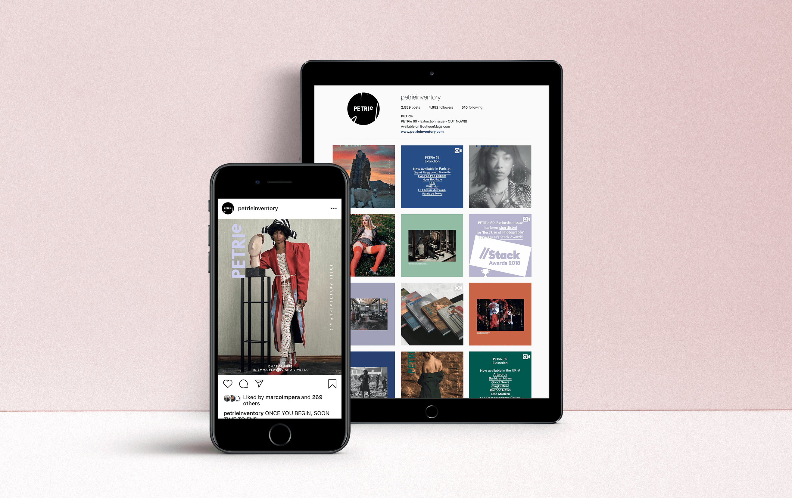 Social Media Campaign on tablet and mobile for Petrie Magazine Issue 69