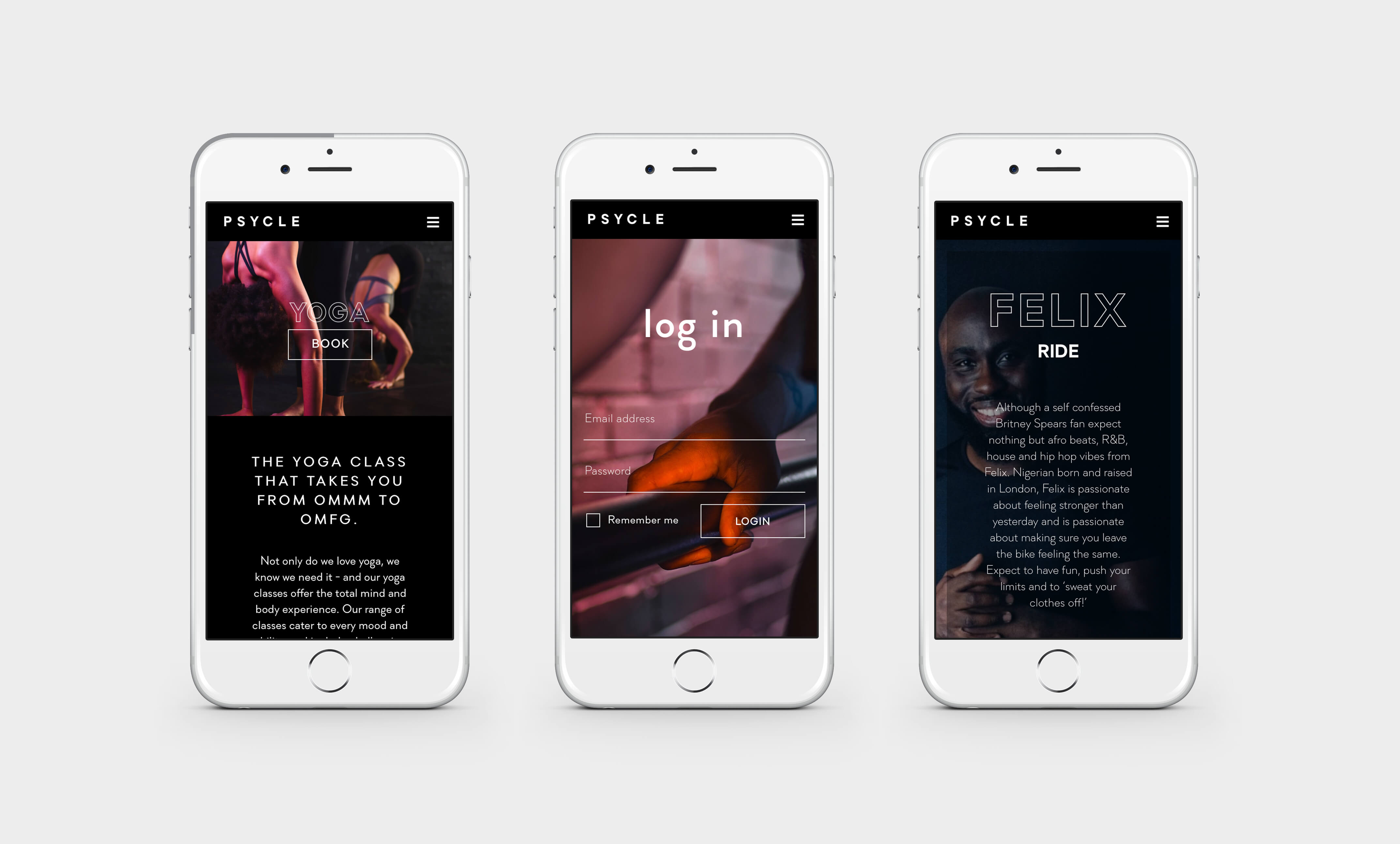 Mobile design for Psycle Fitness