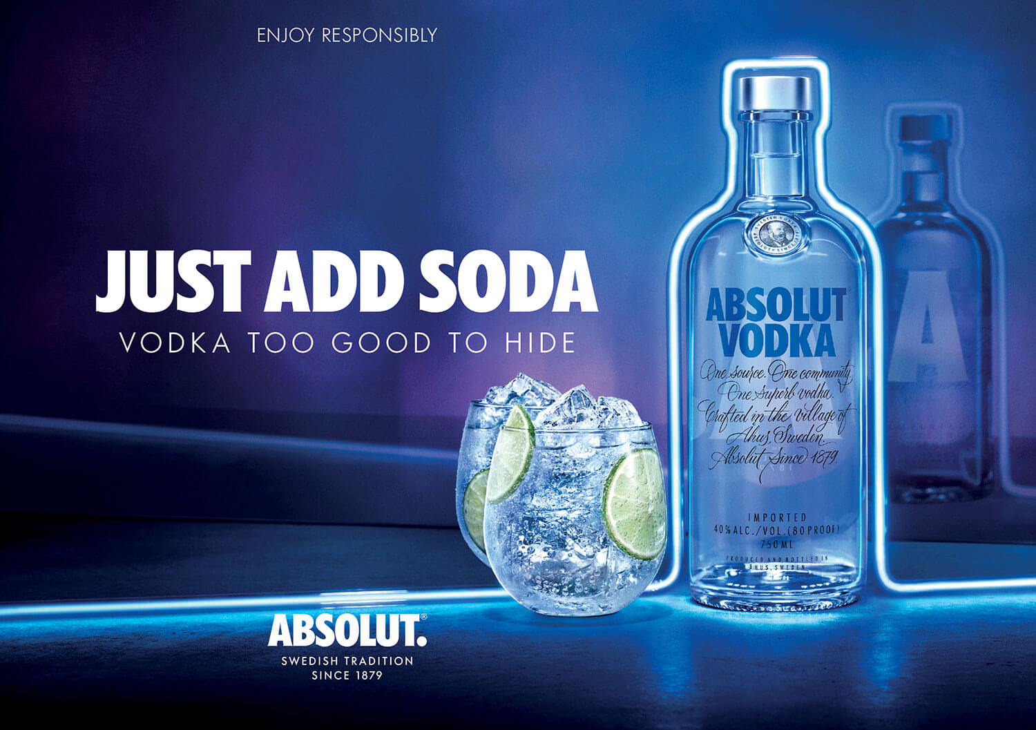 Key visual with bottle and drink for Absolut Vodka Just add soda campaign