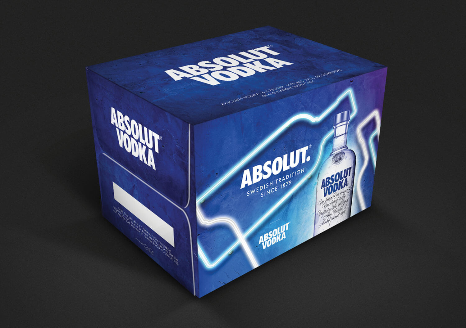 Shipper case closed for Absolut Vodka