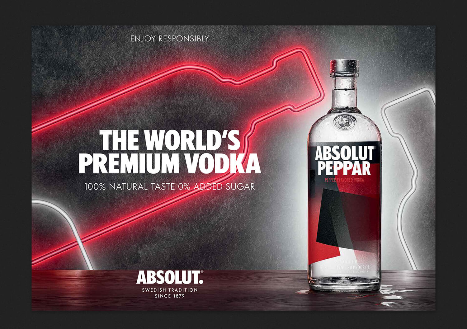 Key visual for Absolut Vodka with bottle and two neon bottles